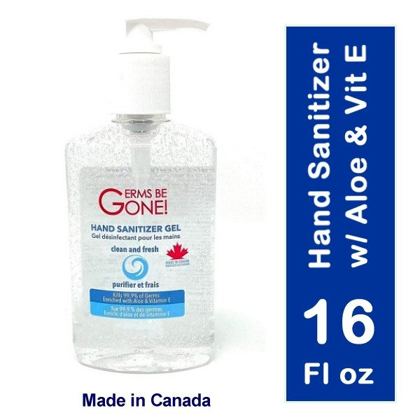 Germs Be Gone Hand Sanitizer w/ Aloe & Vit E Bottle (16 Fl Oz) - Made in Canada