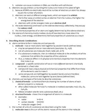 The Chemical Context of Life (Quick Review Biology Lecture Review Notes)