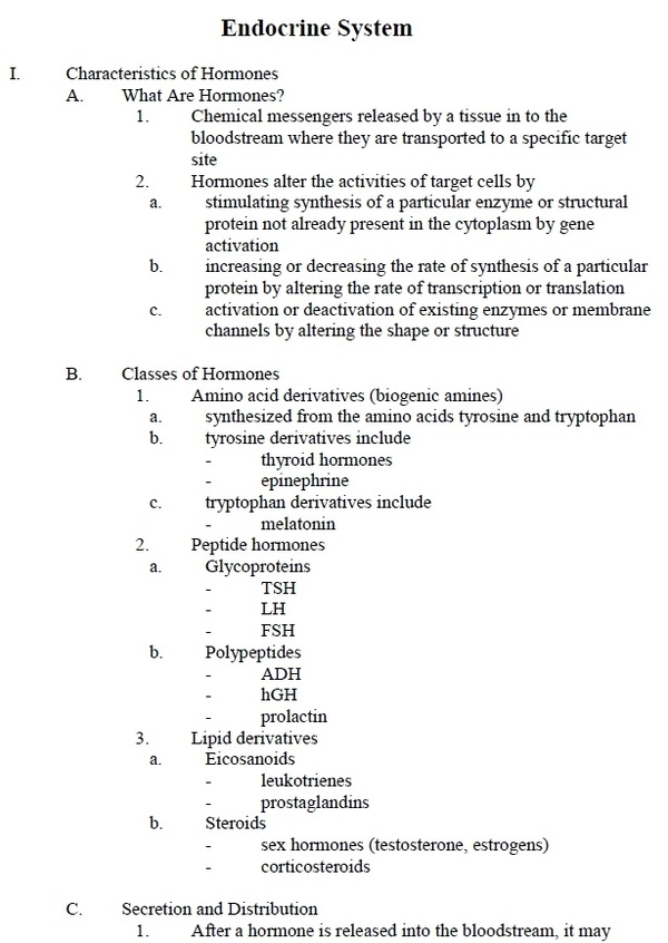 Human Endocrine System - Quick Review Notes and Outline