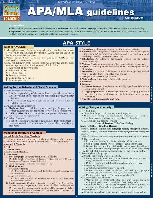 Apa/Mla Guidelines