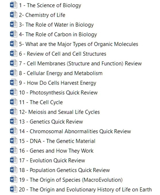 General Biology Quick Review Notes and Outline (20 Uni