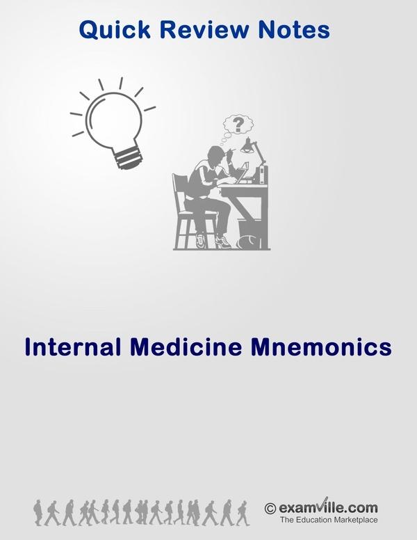 Internal Medicine Mnemonics Cheat Sheet