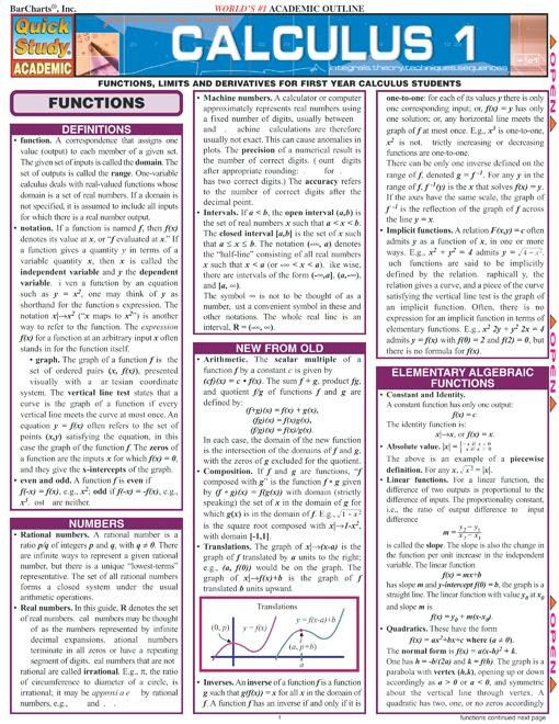Calculus 1 Review for High School and College Students