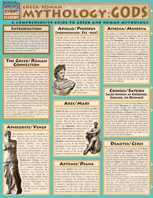 Mythology: Greek/Roman Gods