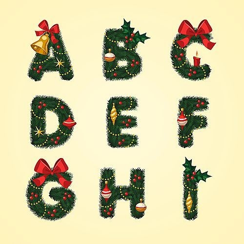 Chrismtas themed Alphabets and Numbers Graphics Pack