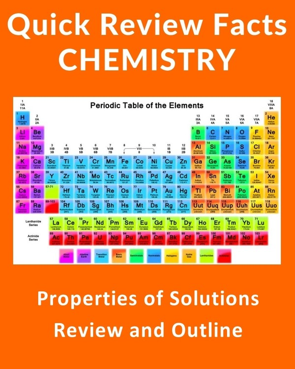 Properties of Solutions - Quick Review Chemistry Notes and Outline