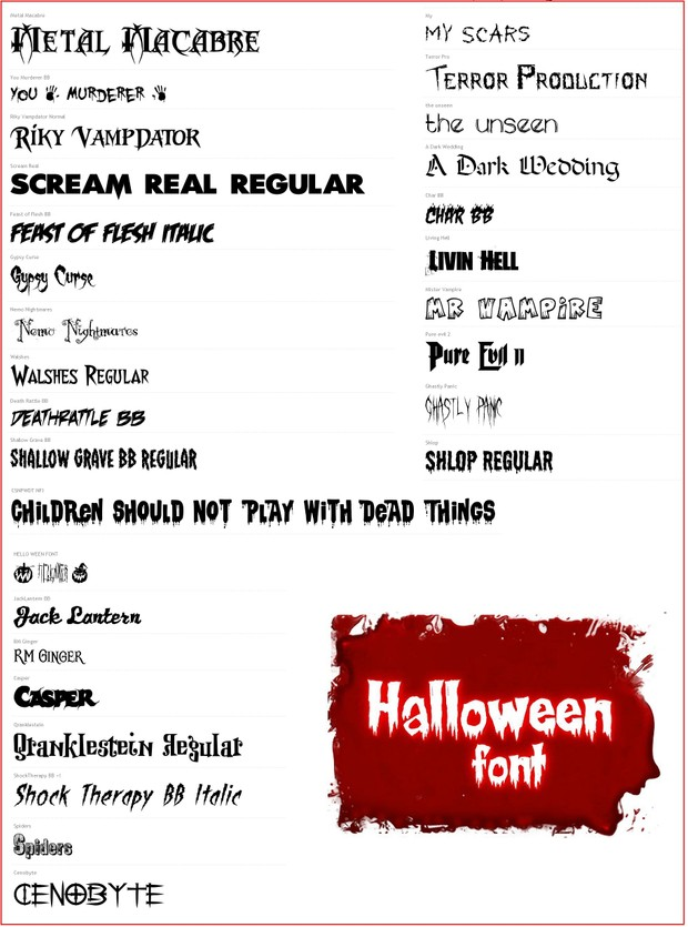 Halloween Themed Fonts Mega Pack (30 Fonts)