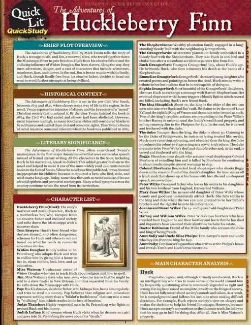 Quicklit:The Adventures Of Huckleberry Finn