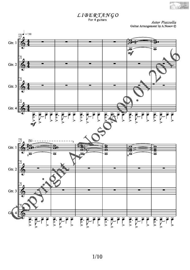 Libertango (A.Piazzolla) Sheet music for 4 guitars
