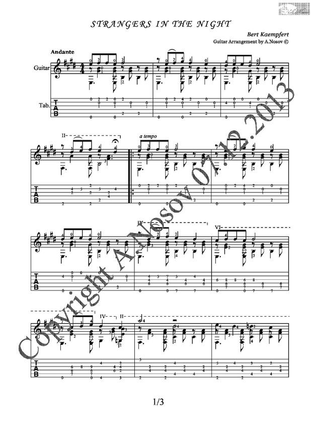 Strangers In The Night (B.Kaempfert) Sheet music for guitar