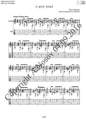 O Que Sera (Ch.Buarque) Sheet music for guitar