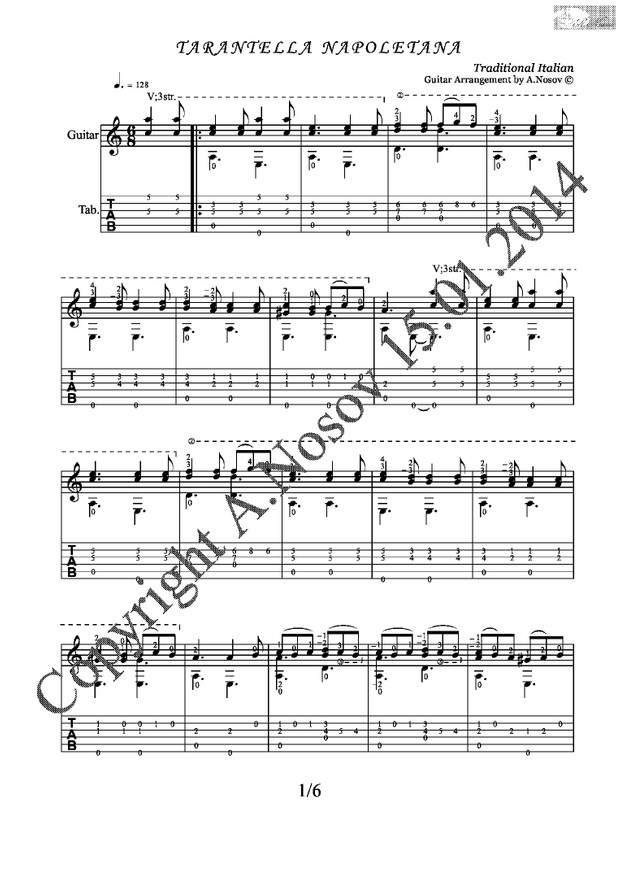 Tarantella Napoletana (Traditional Italian) Sheet music for guitar