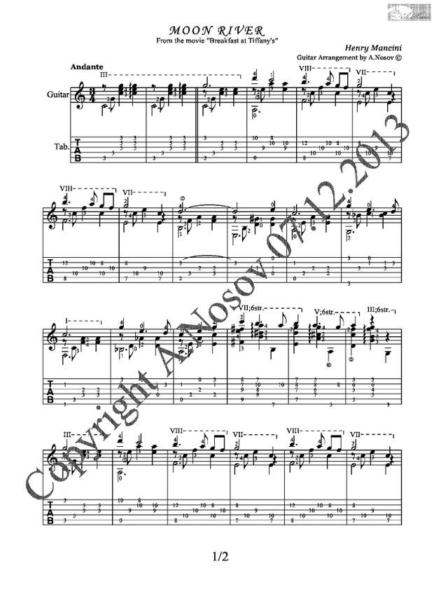 Moon River (H Mancini) Sheet music for guitar