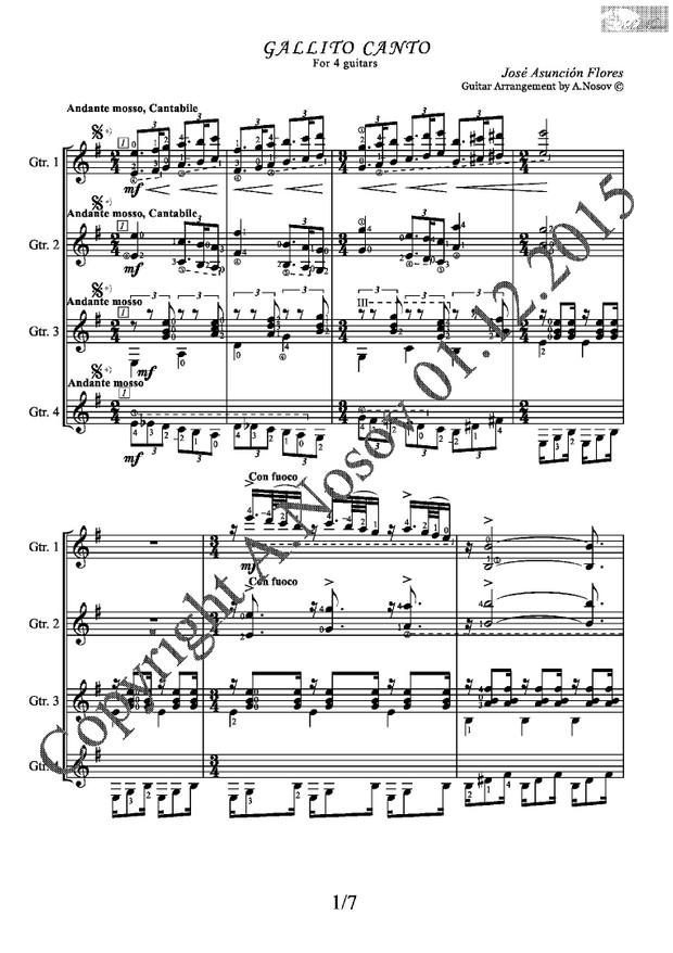 Gallito Canto (J.A.Flores) Sheet music for 4 guitars