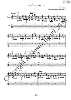 Love is Blue (A.Popp) Sheet music for guitar