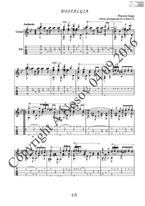 Nostalgia (F.Goya) Sheet music for guitar