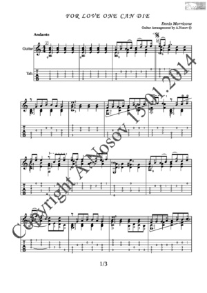 For Love One Can Die (E.Morricone) Sheet music for guitar