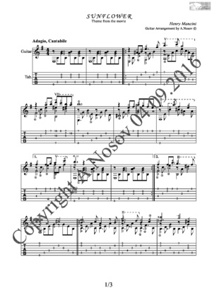 Sunflower (H.Mancini) Sheet music for guitar