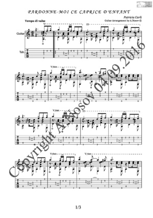 Pardonne-Moi ce Caprice D'enfant (P.Carli) Sheet music for guitar