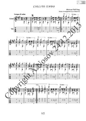 Cielito lindo (Mexican Folk Song) Sheet music for guitar