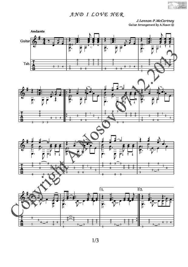 And I Love Her (J.Lennon-P.McCartney) Sheet music for guitar