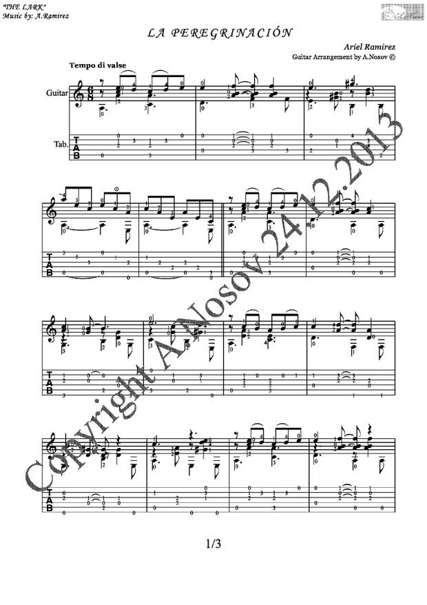 La Peregrinacion (A.Ramirez) Sheet music for guitar