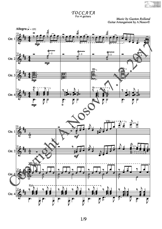 Toccata (G.Rolland) Sheet Music for a 4-guitar ensemble
