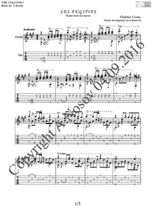 Les Fugitifs (V.Cosma) Sheet music for guitar