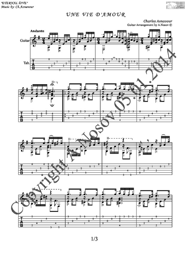 Une Vie D'Amour (Ch.Aznavour) Sheet music for guitar