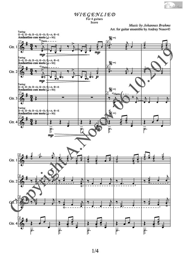 Lullaby, Op.49, No.4 (J.Brahms) Sheet Music for a 4-guitar ensemble