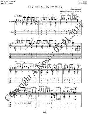 Les Feuilles Mortes (J.Cosma) Sheet music for guitar