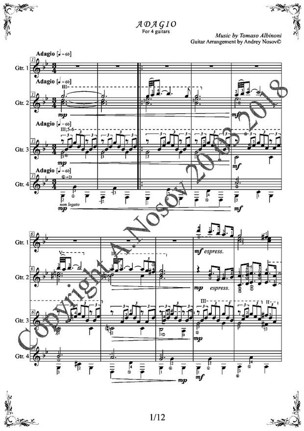 Adagio (T.Albinoni) Sheet Music for Guitar Quartets