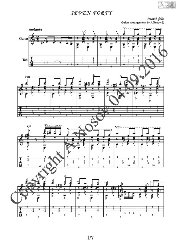 Seven Forty (Jewish folk) Sheet music for guitar