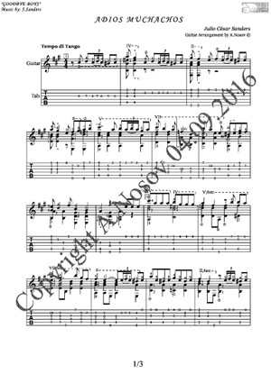 Adios Muchachos (J.Sanders) Sheet music for guitar
