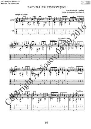 Espuma de Champagne (J.M. de Lucchesi) Sheet music for guitar