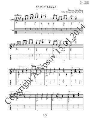 Santa Lucia (Canzone Napolitana) Sheet music for guitar