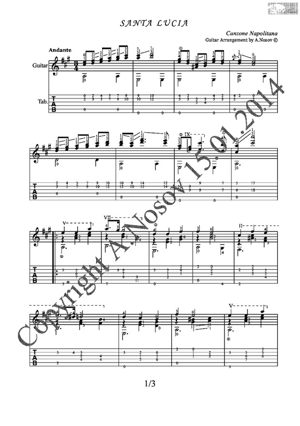 Santa Lucia (Canzone Napolitana) Sheet music for guitar