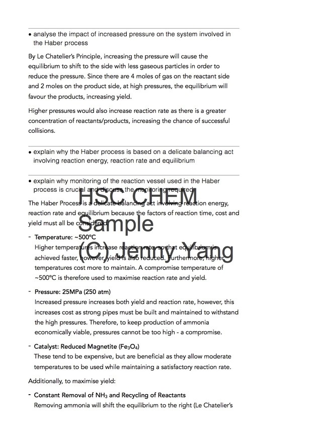 HSC 99.90 ATAR Chemistry (96) Band 6 Monitoring and Management Syllabus Notes
