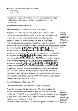 HSC 99.90 ATAR Chemistry (96) Band 6 Production of Materials Syllabus Notes