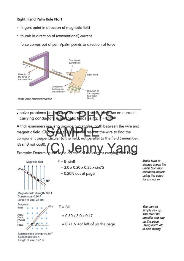 HSC 99.90 ATAR Physics (96) Band 6 Motors and Generators Syllabus Notes
