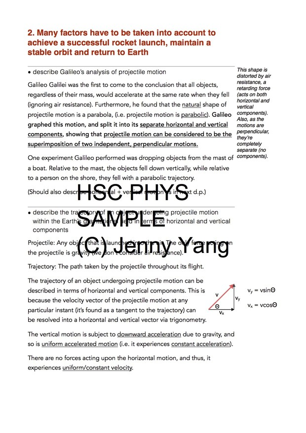 HSC 99.90 ATAR Physics (96) Band 6 Space Syllabus Notes