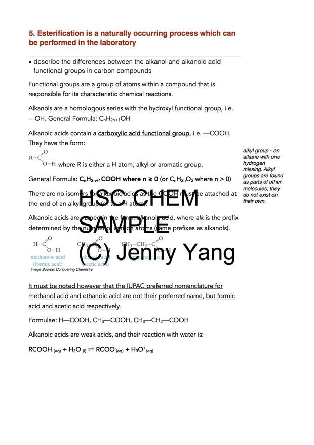 HSC 99 90 ATAR Chemistry (96) Band 6 Acidic Environment Syllabus Notes