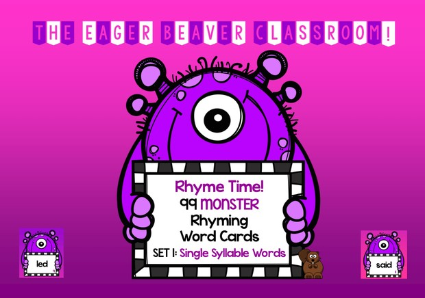 Rhyme Time! Sets 1 & 2 - 198 Monster Rhyming Cards - Single-syllable  rhyming words