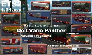 DOLL VARIO Panther 7-10Axles Pack with 12 Cargos Version 5.0 + Spezial Transport Pack  ETS2 1.31.x.x
