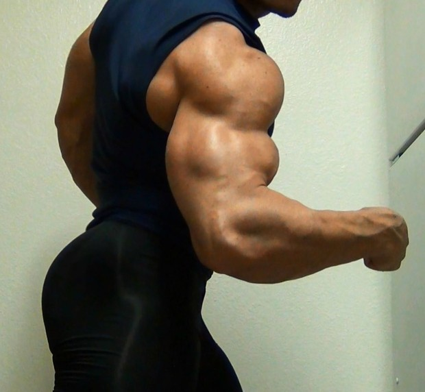 Flexing in Under Armour Spandex