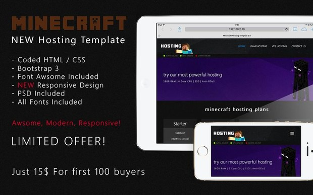 Minecraft HTML CSS Hosting Template 20