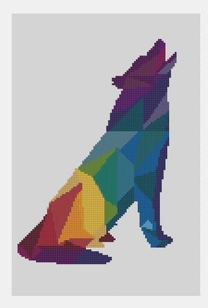 Cross Stitch PDF Wolf Colorful