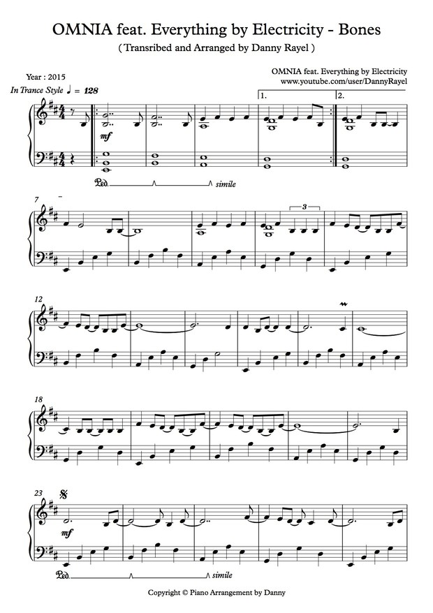 Omnia feat. Everything by Electricity - Bones ( Piano Arrangement by Danny ) ( Sheet Music )