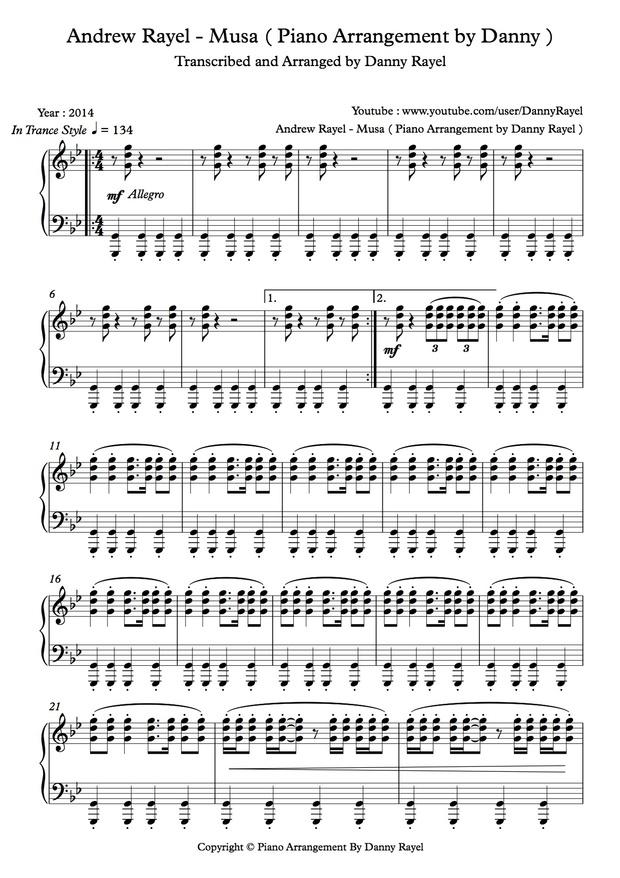 Andrew Rayel - Musa ( Piano Arrangement by Danny ) ( Sheet Music )