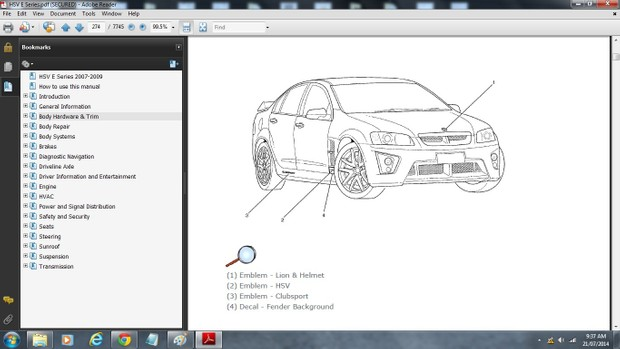 HSV E Series Clubsport/R8/Grange/GTS/Maloo Ute/Senator/W427 Workshop Manual